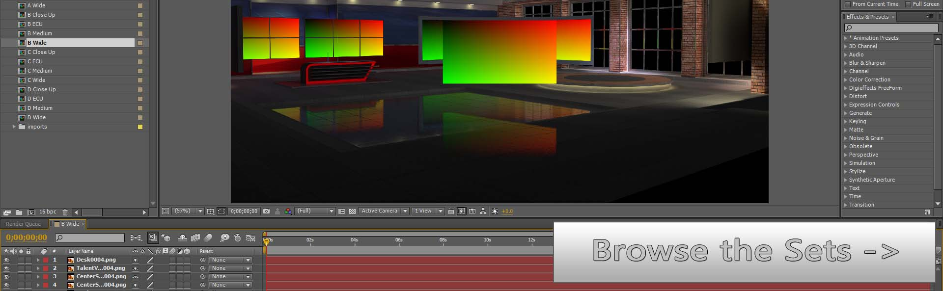 Wirecast Virtual Set Studios