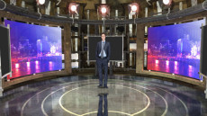 Virtual Set Studio 089 for HD Extreme is a blue room with screens.