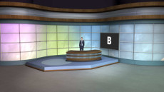 Virtual Set Studio 094 for Wirecast is a talk show set with colored background.