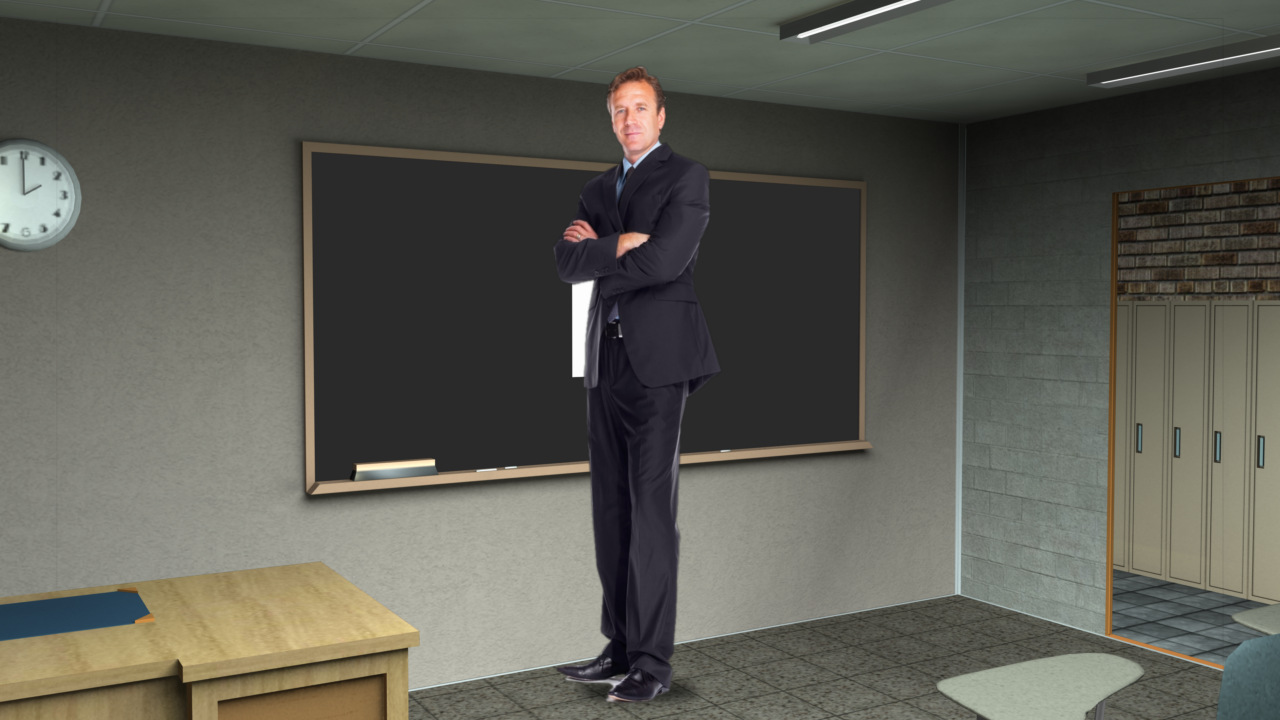 Virtual Set Studio 105 for HD Extreme is a classroom with chalkboard.