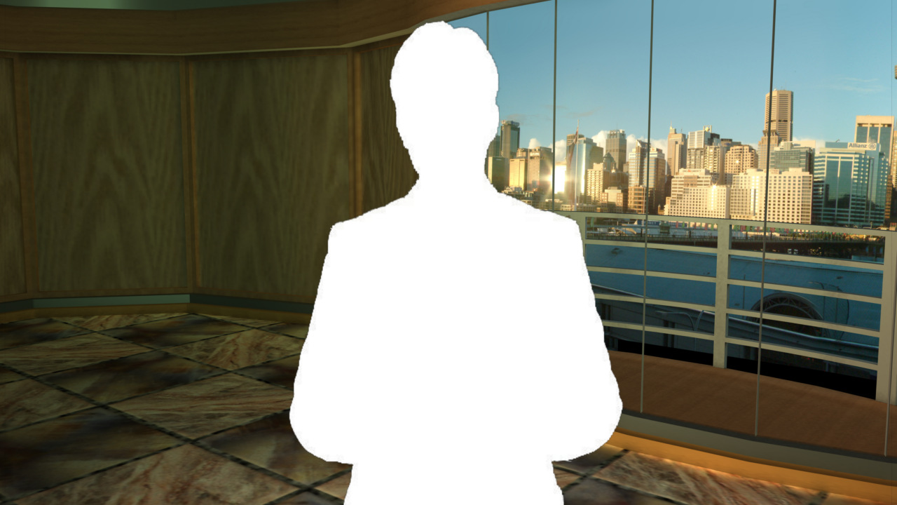 Virtual Set Studio 106 for Wirecast is a stage with views of Darling Harbor behind it.