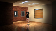 Virtual Set Studio 110 for Wirecast is a small room with nice lighting and pictures on the wall.
