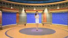 Virtual Set Studio 114 for Wirecast is a circular room with presentation monitors all around it.