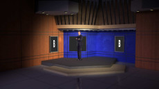 Virtual Set Studio 116 for Wirecast is a presentation room with 3 screens.