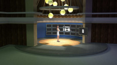 Virtual Set Studio 118 for vMix is a circular stage surrounded by monitors.