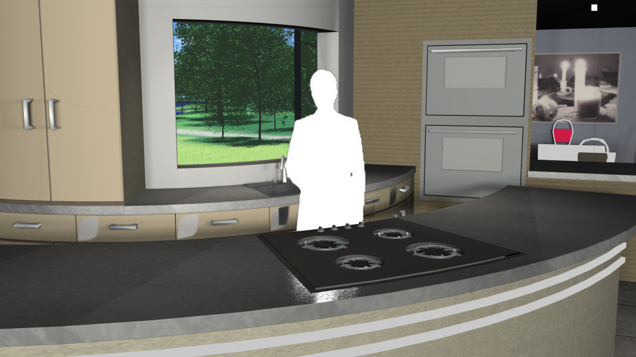 Virtual Set Studio 120 for 4K is a kitchen and dining room with a view.