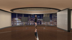 Virtual Set Studio 127 for HD Extreme is a circular room with monitors and a monitor wall overlooking a city.