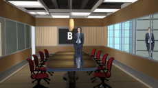 Virtual Set Studio 128 for 4K is a conference room with a view of buildings.