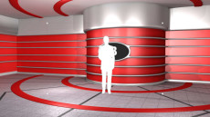 Virtual Set Studio 136 for Wirecast is a retro stage with a round screen.