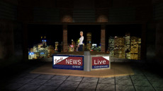 Virtual Set Studio 145 for vMix is a newsdesk with changeable desk front.