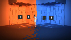 Virtual Set Studio 152 for Wirecast is a blue and orange tiled room.