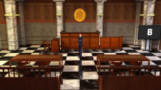 Virtual Set Studio 160 for Wirecast is a courtroom with jury stand, witness stand, judge's bench and space for prosecution and defendant.