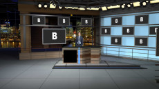 Virtual Set Studio 179 for Wirecast is a major network new desk set with monitors spaced around the room.