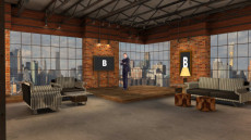 Virtual Set Studio 180 for Wirecast is a city loft with furniture and a skyline.