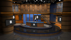 Virtual Set Studio 181 for 4K is a news desk with stairs and side areas.