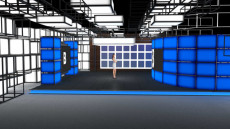 Virtual Set Studio 182 for Wirecast is a presentation room with square blocks and screens.