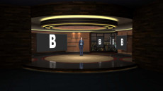 Virtual Set Studio 183 for vMix is a circular presentation room with wood paneled walls and a skyline.