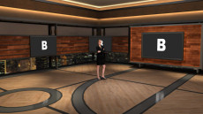 Virtual Set Studio 184 for vMix is a talk show set with a night skyline.