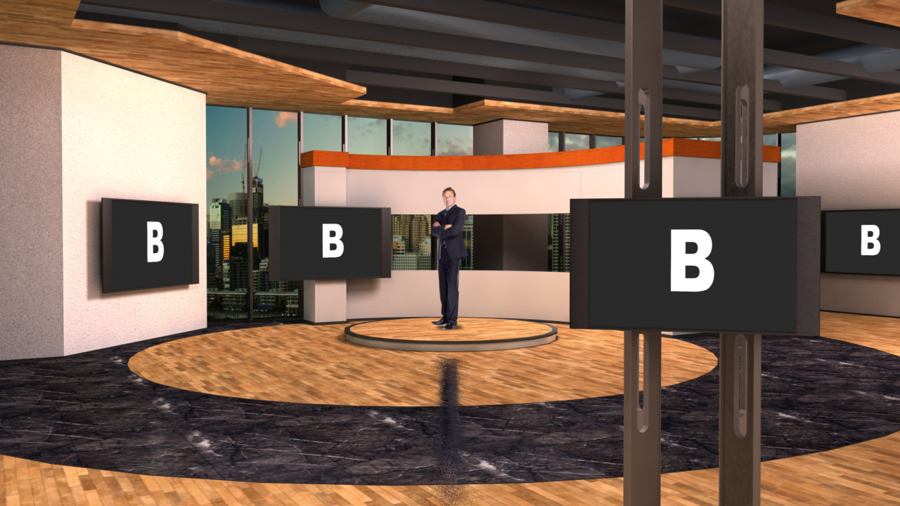 Virtual Set Studio 185 for Wirecast is a light open modern space with numerous screens to add your own content.
