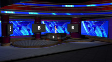 Virtual Set Studio 187 for vMix is a nightly news room with a desk and configurable monitors.