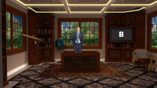 Virtual Set Studio 188 for 4K is an office with rich wood furniture and optional desk.