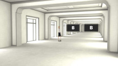 Virtual Set Studio 199 for 4K is a very white and neutral room with optional screens.