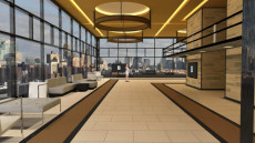 Virtual Set Studio 200 for vMix is a warm lobby with skyline and optional furniture and screens.