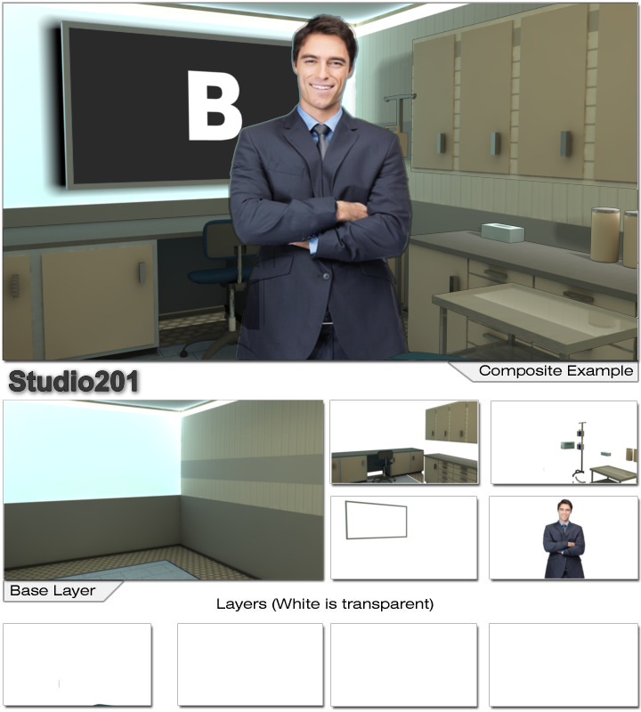 Virtual Set Studio 201 for After Effects can be configured as a dentist or doctor office with removable chairs.