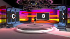 Virtual Set Studio 202 for vMix is a colorful and curving presentation stage.
