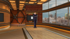 Virtual Set Studio 203 for Wirecast is a warm stage with a skyline and dais.