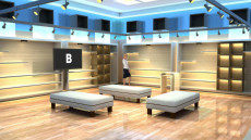 Virtual Set Studio 204 for Wirecast is a store with optional padded seats and shelves for products.