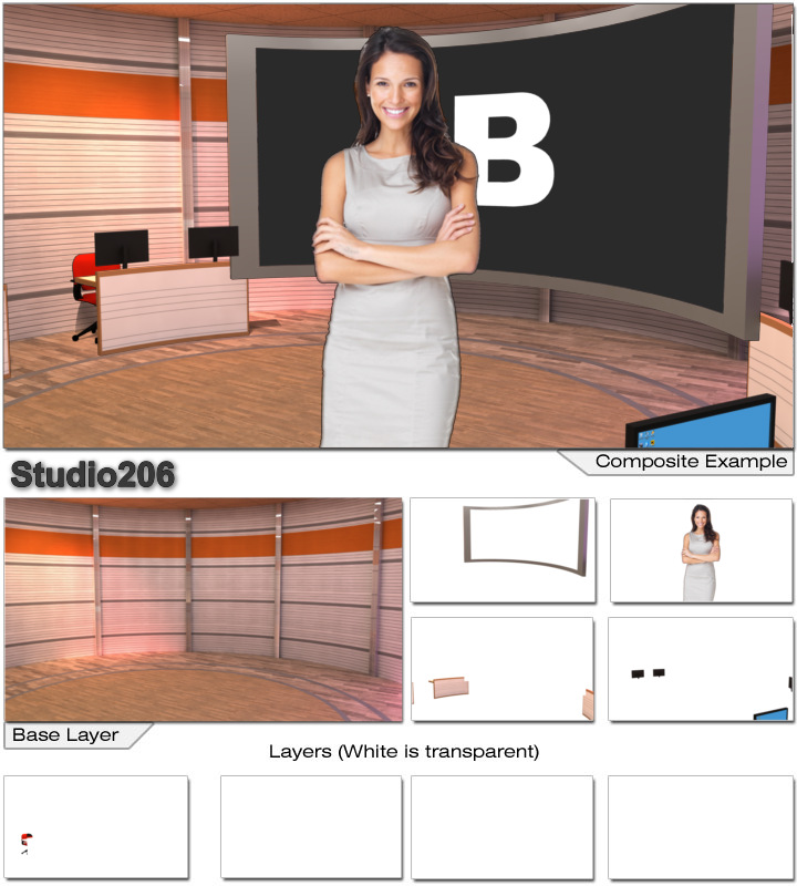 Virtual Set Studio 206 for Wirecast is a lecture hall classroom with projection screen and computer screens.