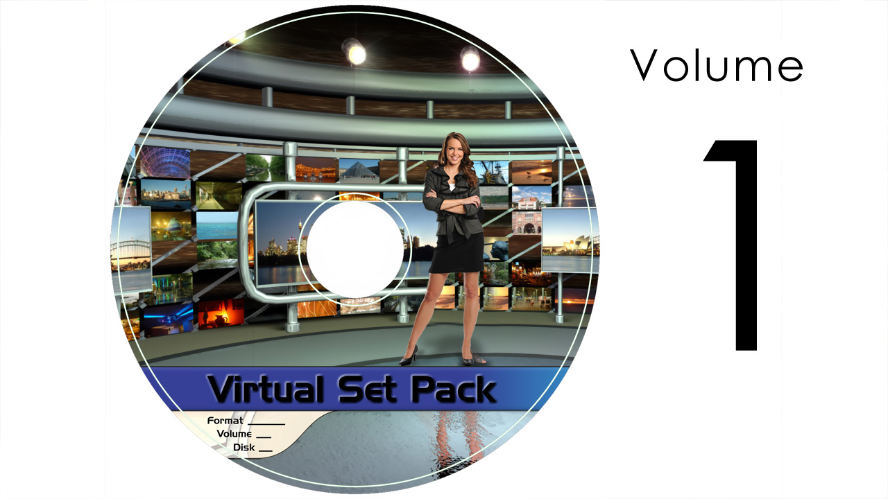 Virtual Set Pack Volume 1 After Effects:  Royalty Free, Includes 10 Virtual Sets with 16 Angles Each in After Effects Format: Studio089 Studio095 Studio097 Studio098 Studio103 Studio105 Studio107 Studio111 Studio112 Studio113