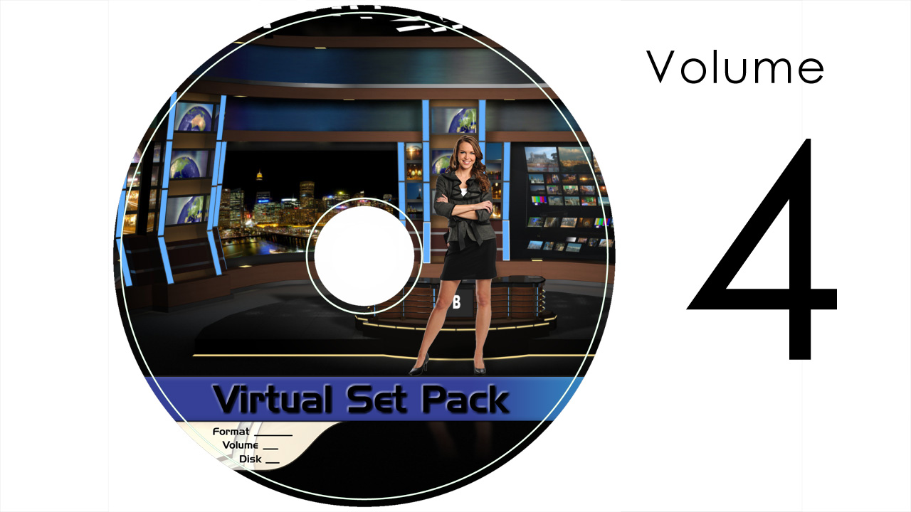 Virtual Set Pack Volume 4 After Effects:  Royalty Free, Includes 10 Virtual Sets with 16 Angles Each in After Effects Format: Studio157 Studio158 Studio159 Studio160 Studio161 Studio164 Studio165 Studio166 Studio170 Studio171