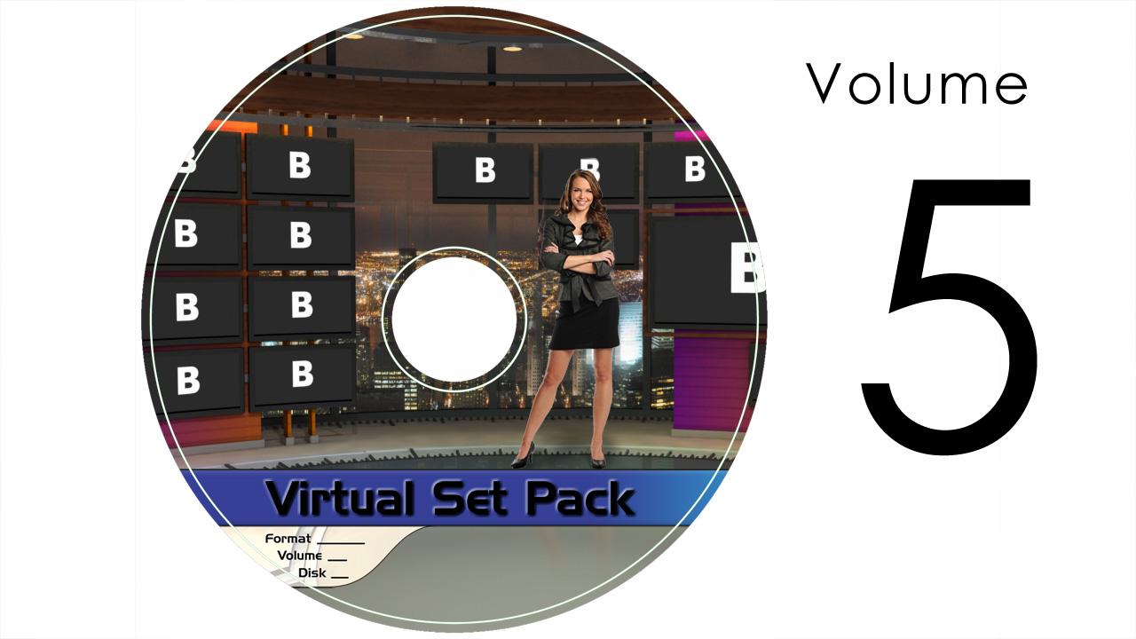 Virtual Set Pack Volume 5 SD:  Royalty Free, Includes 10 Virtual Sets with 16 Angles Each in SD Format: Studio172 Studio173 Studio175 Studio176 Studio177 Studio178 Studio179 Studio180 Studio181 Studio182