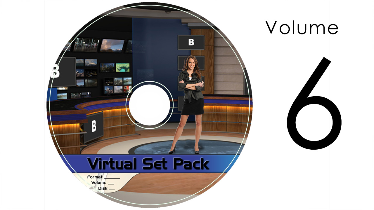 Virtual Set Pack Volume 6 SD:  Royalty Free, Includes 10 Virtual Sets with 16 Angles Each in SD Format: Studio183 Studio184 Studio186 Studio187 Studio188 Studio189 Studio190 Studio191 Studio192 Studio193
