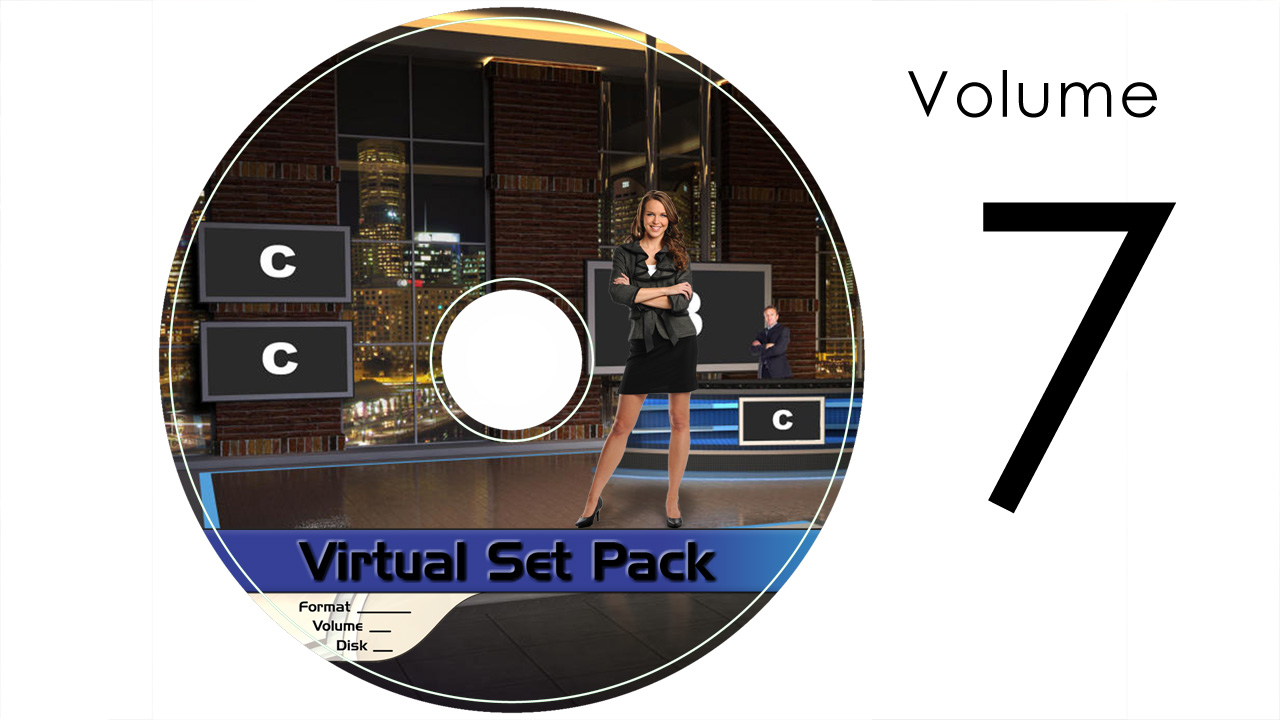 Virtual Set Pack Volume 7 After Effects:  Royalty Free, Includes 10 Virtual Sets with 16 Angles Each in After Effects Format: Studio194 Studio196 Studio197 Studio200 Studio202 Studio203 Studio204 Studio205 Studio206 Studio207