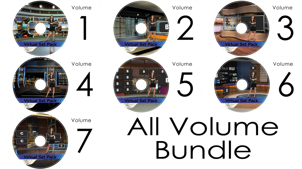 Virtual Set Pack All Volumes Wirecast:  Royalty Free, Includes 70 Virtual Sets with 16 Angles Each in Wirecast Format