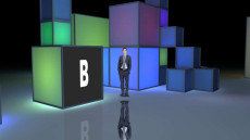 Virtual Set Studio 095 for Wirecast is a space full of colored cubes.