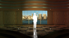 Virtual Set Studio 106 for 4K is a stage with views of Darling Harbor behind it.