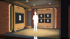 Virtual Set Studio 107 for Wirecast is a room with several monitors and clean lines.
