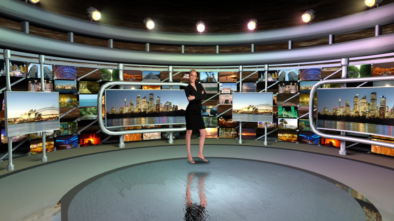 Virtual Set Studio 113 for vMix is a circular room with presentation monitors all around it.
