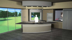 Virtual Set Studio 120 for Wirecast is a kitchen and dining room with a view.