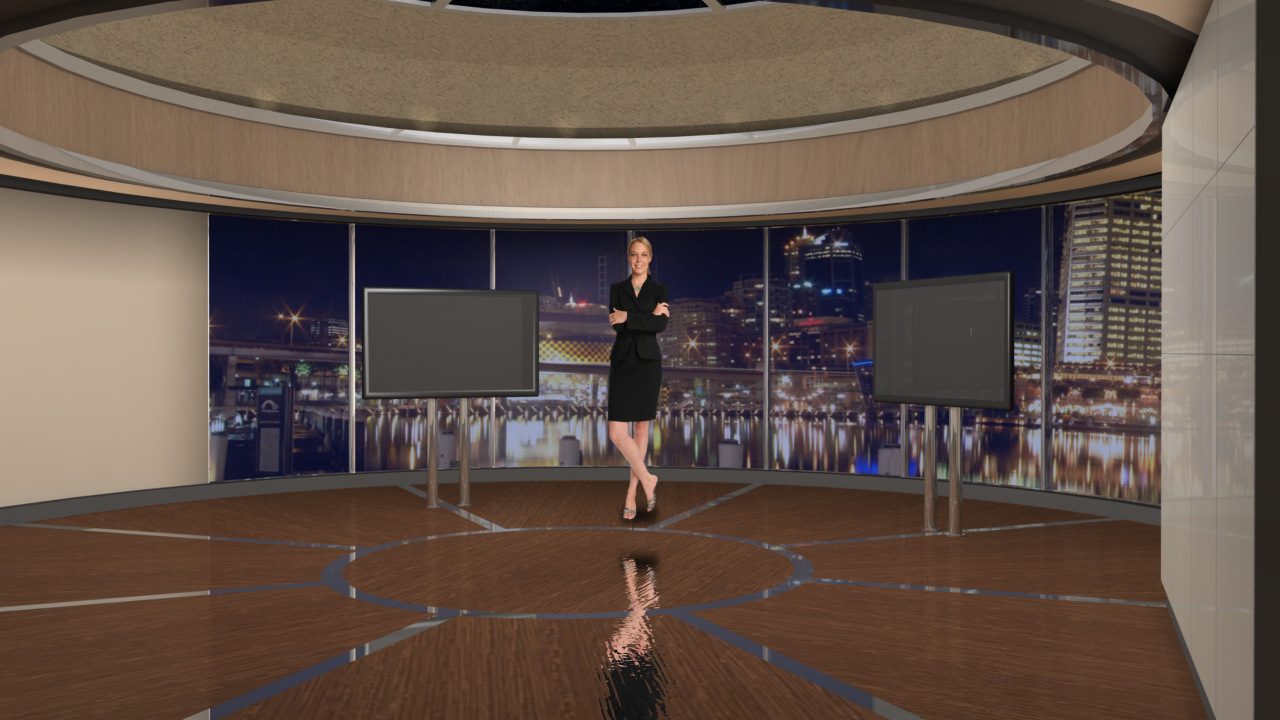 Virtual Set Studio 127 for Wirecast is a circular room with monitors and a monitor wall overlooking a city.