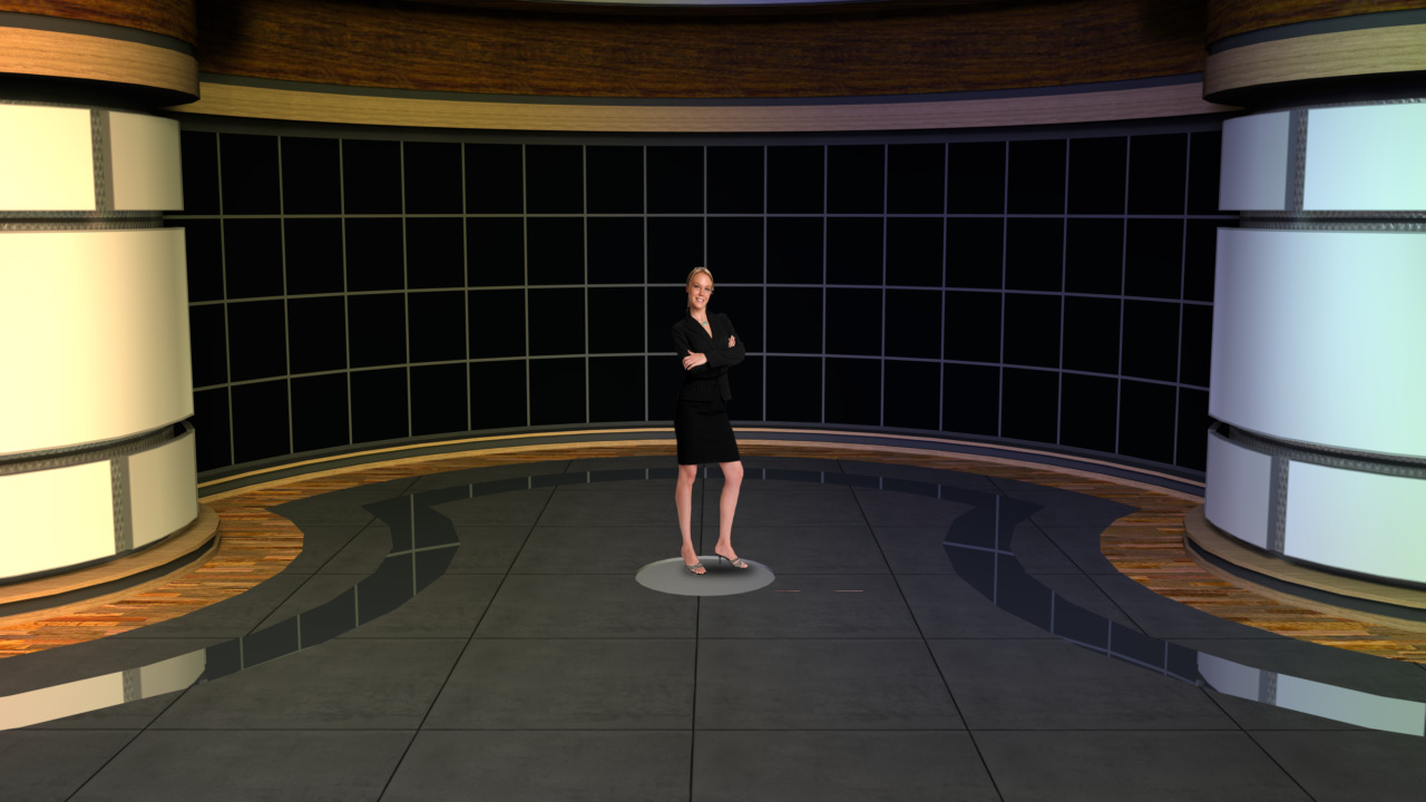 Virtual Set Studio 138 for vMix is a room with several monitors and a view.