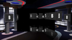 Virtual Set Studio 155 for Wirecast is a Virtual Set Studio with monitors.