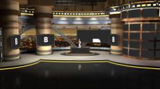 Virtual Set Studio 172 for vMix is a news set with different stations.