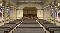Virtual Set Studio 175 for Wirecast is a church with a pipe organ and stained glass windows.