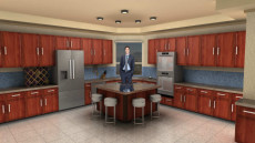 Virtual Set Studio 176 for vMix is a kitchen overlooking a beach.