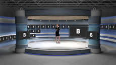 Virtual Set Studio 177 for Wirecast is a circular presentation room rimmed by monitors.